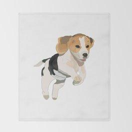 Beagle Art, beagle puppy, digital painting Throw Blanket