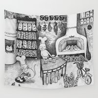 baking Wall Tapestries featuring Baking Cats by Ulrika Kestere
