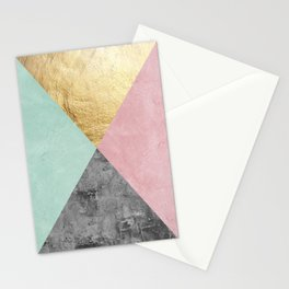 Marble and gold triangles II Stationery Cards