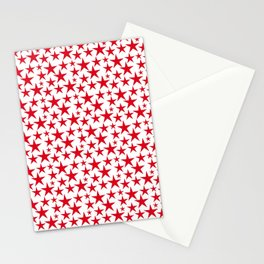 Red stars on white background illustration Stationery Cards