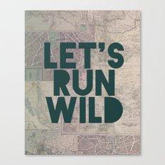 Let's Run Wild (Vintage Map) Canvas Print