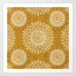 Vintage Mandala on Gold Art Print