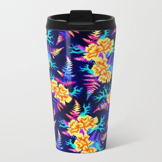 Coral Carnation - Yellow/Blue Metal Travel Mug
