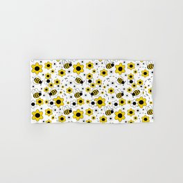 Honey Bumble Bee Yellow Floral Pattern Hand & Bath Towel
