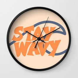 Stay Wavy Surf Type Wall Clock