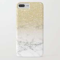Modern faux gold glitter white marble color block iPhone 8 Plus Slim Case