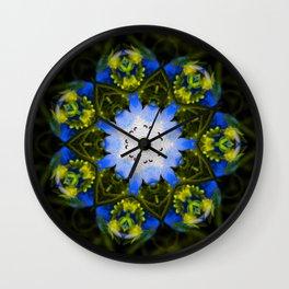 Kaleidoscopic Mandala Baby Blue Eyes Flower Wall Clock