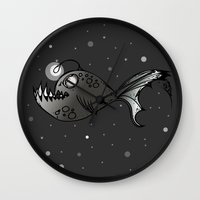 lantern Wall Clocks featuring Lantern Fish by GoAti