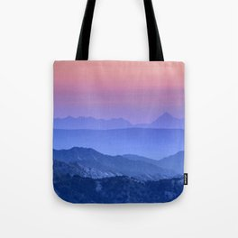 """Mountain dreams"". At sunset. Tote Bag"