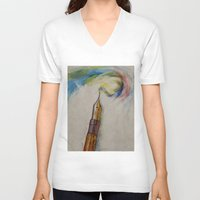 pen V-neck T-shirts featuring Fountain Pen by Michael Creese