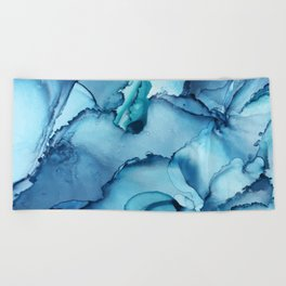 The Blue Abyss - Alcohol Ink Painting Beach Towel