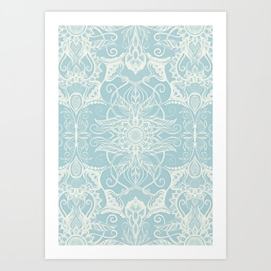Floral Pattern in Duck Egg Blue & Cream Art Print