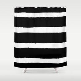 Black & White Paint Stripes by Friztin Shower Curtain