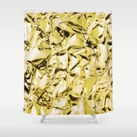 gold foil Shower Curtains featuring Gold foil by lamottedesign