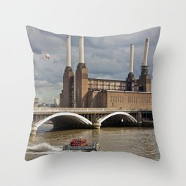 Battersea Power Station with Pink Floyd Pig Throw Pillow