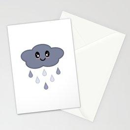 Kawaii Cute Happy Stormy Rain Cloud Stationery Cards