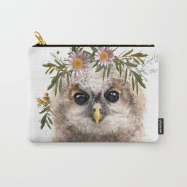 Owl with flower crown Print Carry-All Pouch