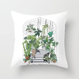 greenhouse illustration Throw Pillow