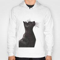 black cat Hoodies featuring Black Cat by Cedric S Touati