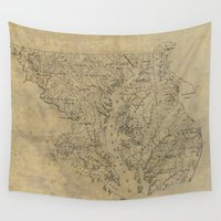 maryland Wall Tapestries featuring Vintage Map of Maryland (1893) by BravuraMedia
