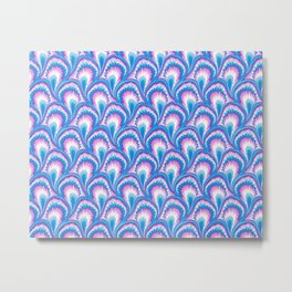 Marbling Peacock - Blue & Pink Metal Print