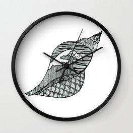 Seashell Wave Pattern Seaside Shell Hokusai Inspired Wall Clock