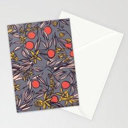 Orange Blossoms at Dusk on Gray Violet Stationery Cards