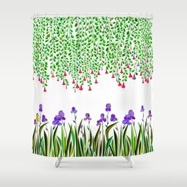 A Colorful Garden of Iris and Trumpets, Hanging Garden Shower Curtain