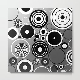 Geometric black and white rings on metallic silver Metal Print