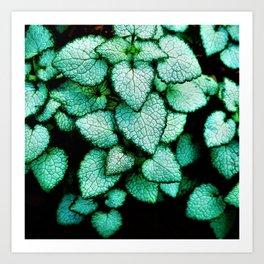 Mint Heart Leaves Art Print