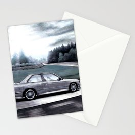 M3 CAR RIDING THROUGH THE FAMOUS NURBURGRING RACE TRACK AT DAY Stationery Cards