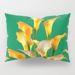 DECORATIVE GREEN ART GOLDEN CALLA LILIES Pillow Sham