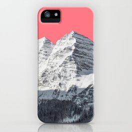 Snow mountain surreal landscape and a pink sky iPhone Case
