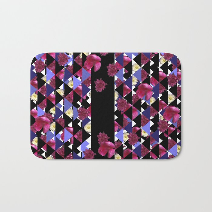 Bursting With Flowers and Triangles Bath Mat