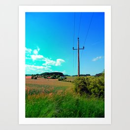 Clouds, a powerline and lots of green Art Print