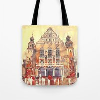 takmaj Tote Bags featuring Poznań by takmaj