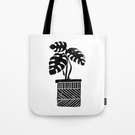 Linocut cheese plant monstera tropical leaf lino print black and white illustration art home dorm  Tote Bag