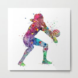 Volleyball Girl Watercolor Print Girls Room Decor Volleyball Poster Girl Volleyball Wall Art Metal Print