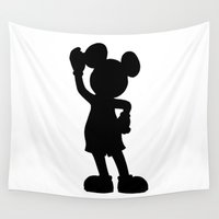 mickey Wall Tapestries featuring Mickey Silhouette by Beach Bum Pics