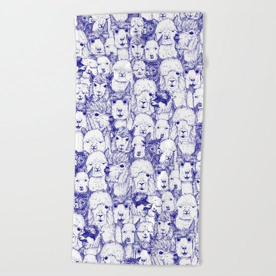 just alpacas blue white Beach Towel