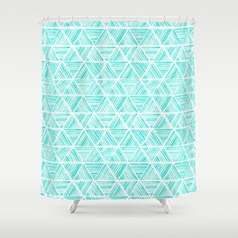 Aquamarine Watercolor Triangular Pattern Shower Curtain