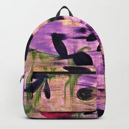 Purple Garden. Purple, Vines, Garden, Flowers, Green, Abstract, Jodilynpaintings Backpack