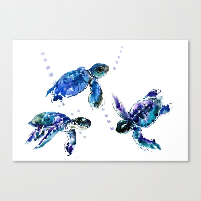 Three Sea Turtles Marine Blue Aquatic Design Leinwanddruck Von