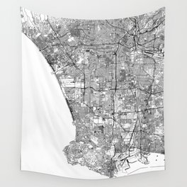 Los Angeles White Map Wall Tapestry