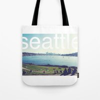 seattle Tote Bags featuring seattle by Rae Snyder