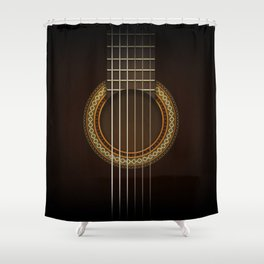 Full Guitar Black Shower Curtain