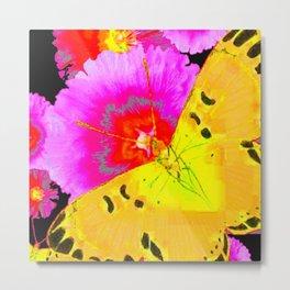 MODERN ART YELLOW BUTTERFLIES & FUCHSIA PINK FLOWERS Metal Print