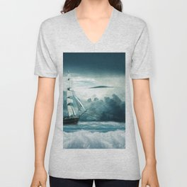 Blue Ocean Ship Storm Clouds Unisex V-Neck