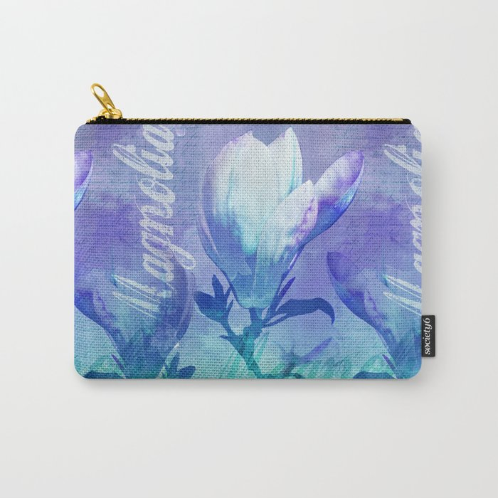 Blue Purple Magnolia mixed media typography illustration Carry-All Pouch