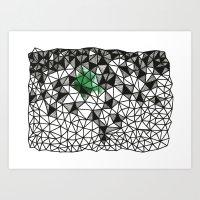 Green Grid Art Print